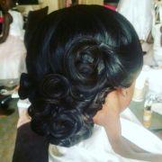 updo.full sew in weave wedding