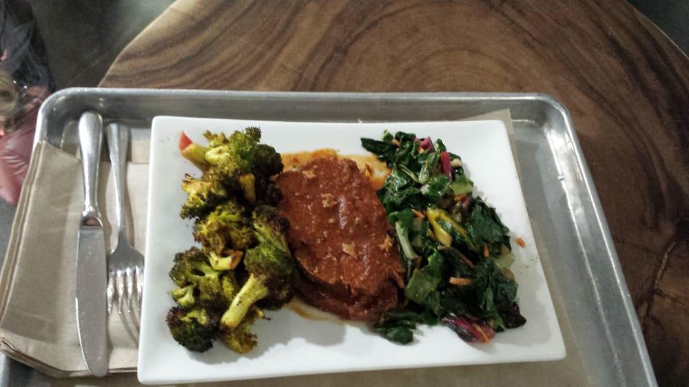 The elkgrassfed beefBerhsire pork meatloaf broccoli