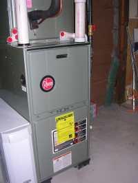 Rheem 95% upflow warm air furnace with AprilAire 2410 ...