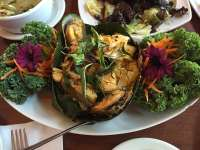 Mix seafood plate in banana leaf - Yelp