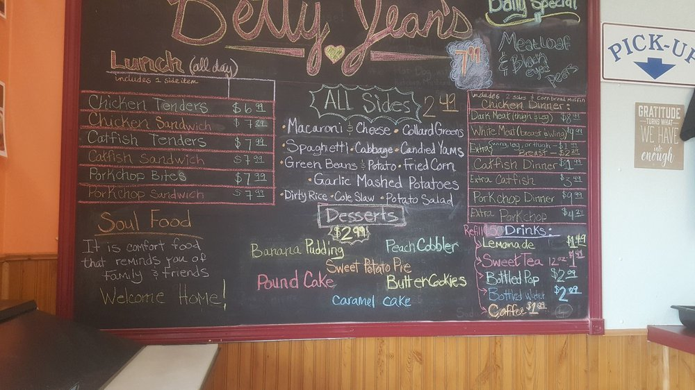 Bettys Soul Food Restaurant Menu
