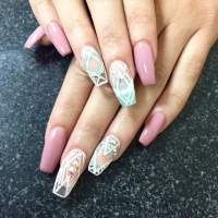 Full set of long ballerina:coffin shape nails. Gel polish ...