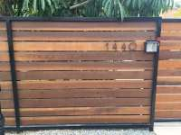 """Horizontal redwood fence 5.5"""" pickets Stained Metal frame ..."""