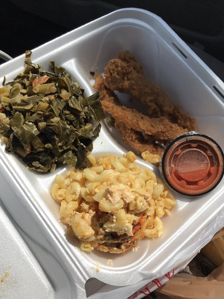 Chicken fingers with collards and vegan mac and cheese  Yelp