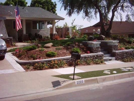 front yard landscape hardscape