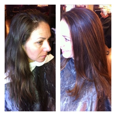 hair by kendra before and after color gloss and subtle highlights yelp