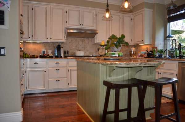 antique green kitchen cabinets Antique white and green kitchen cabinet re-finish | Yelp