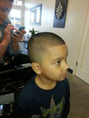 kids cut bald fade with number