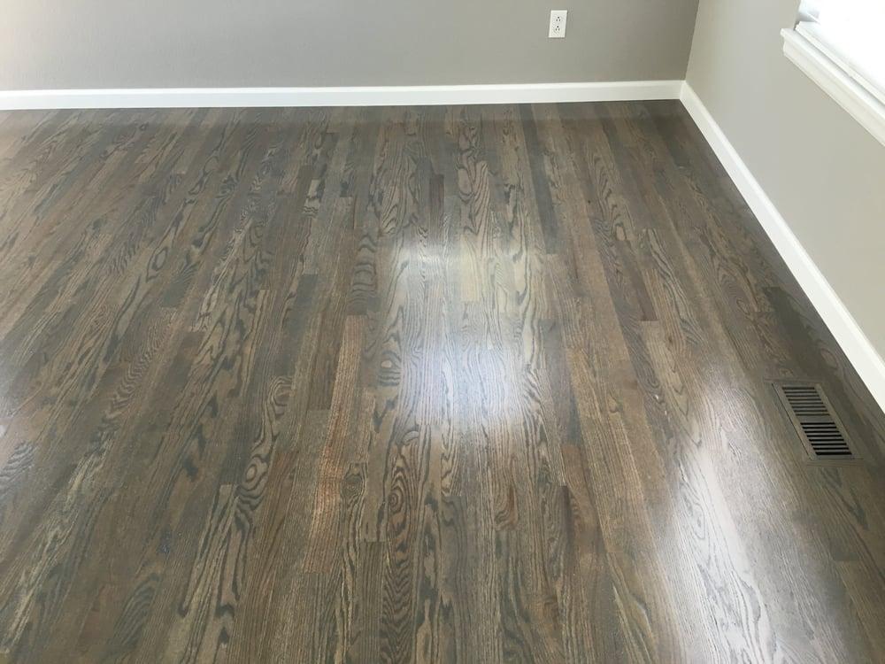 1078 sqft NEW 2 14 red oak install sand custom stain