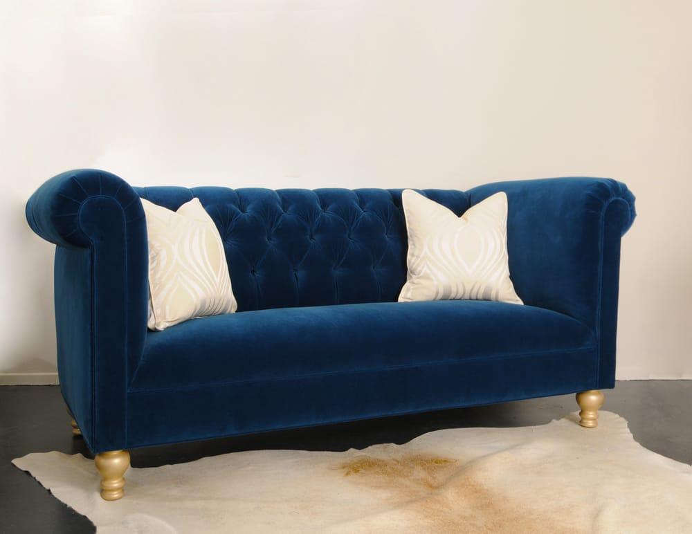 Custom Cobalt Blue Velvet Tufted Sofa