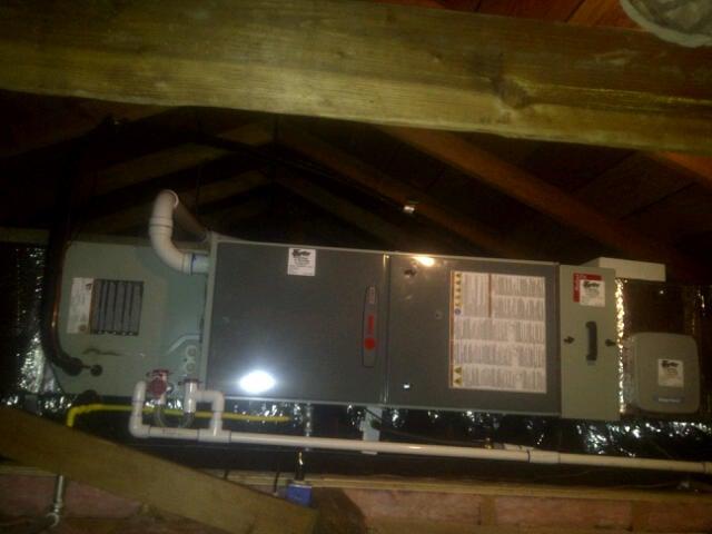 TRANE Horizontal Furnace install in Attic
