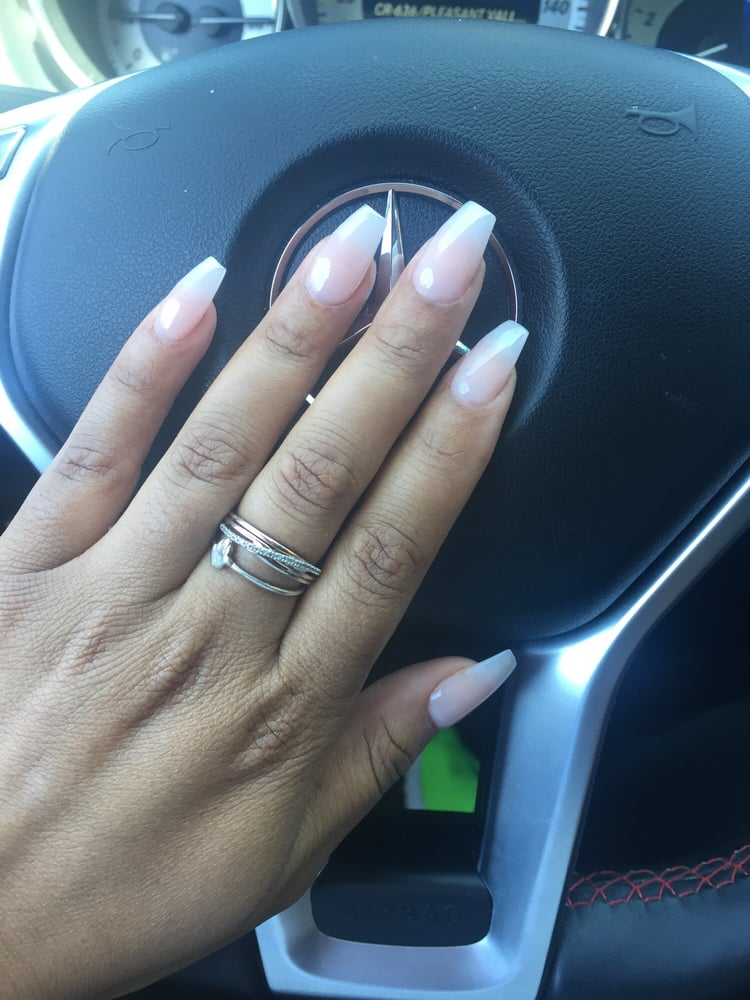 Coffin style SNS nails with tips  Yelp