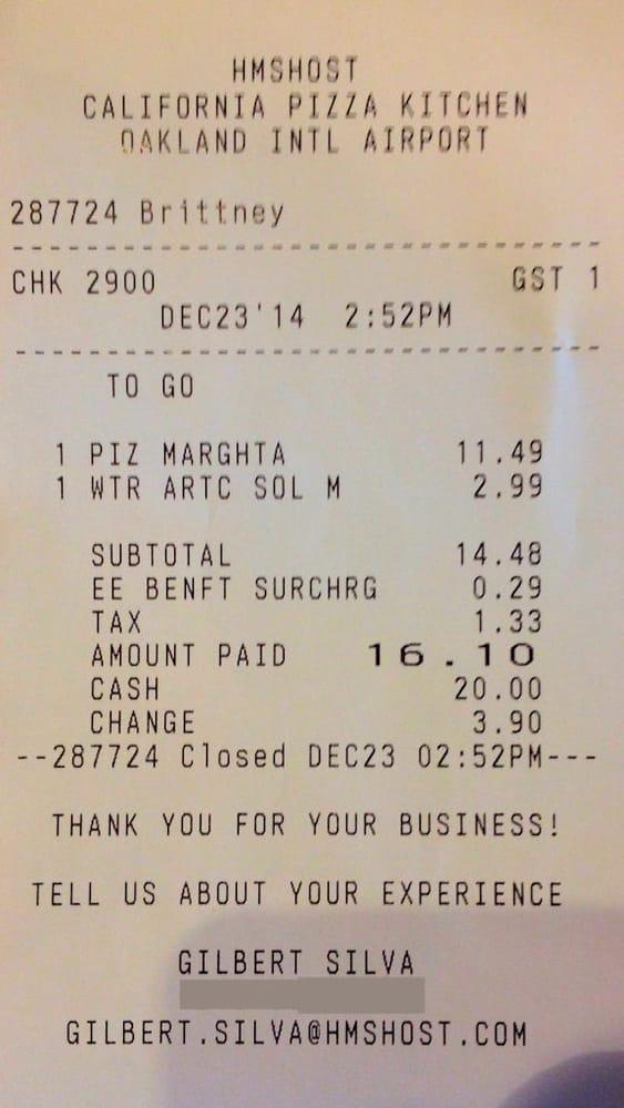 Receipt  California Pizza Kitchen  Oakland International