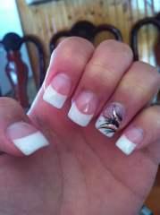 acrylic sparkly white tips