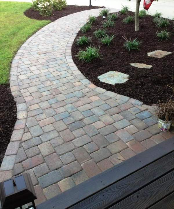 decorative paver sidewalk leading