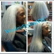 natural hair blow and flat iron