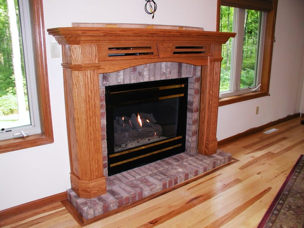 Recessed Mantel package with brick wall surround and base and gas fireplace  Yelp