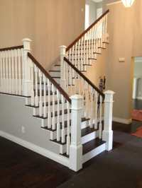 Beautiful traditional white and dark wood staircase. This