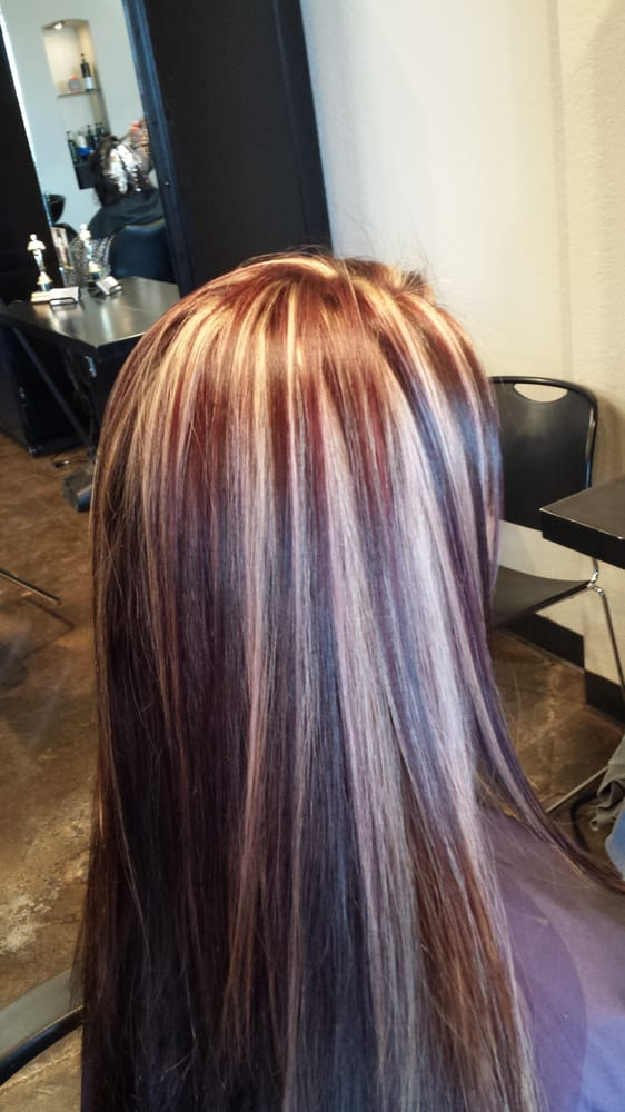 Brown Hair With Red Lowlights And Blonde Highlights Pictures