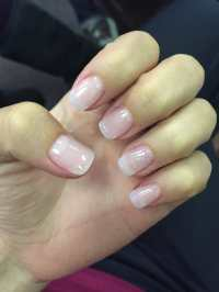 Acrylic nails: natural with a little bit of glitter accent ...