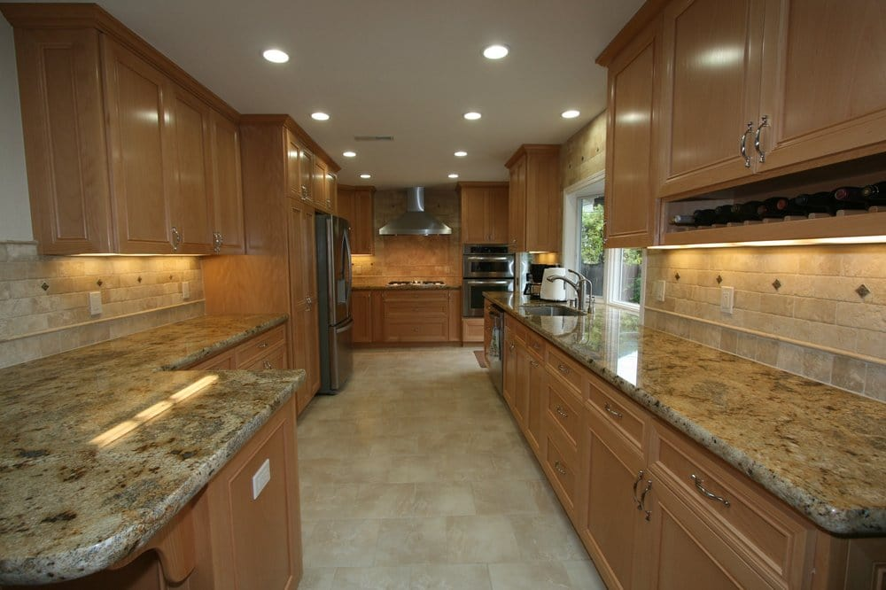 kitchen cabinets san jose cabinet trash can maple cabinets, travertine backsplash, granite counter ...