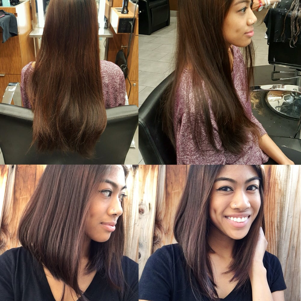 Before Long Thick Hair After Lob Long Bob A Line