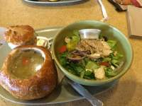 panera chicken noodle soup bread bowl