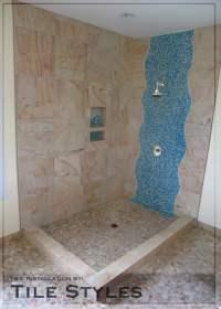 Tile Styles: Custom waterfall design using blue mosaic ...
