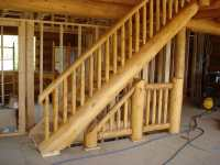 Log Stairs and Railings built with mortise and tenon ...