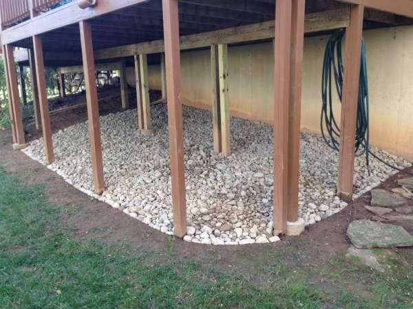 decorative stone under deck