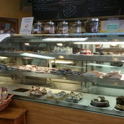 Display case of baked goods from Mancini's