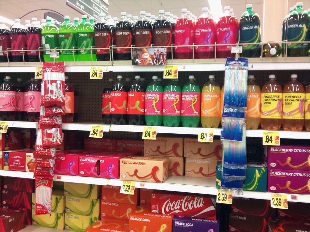 Brightly colored Kroger brand soda  Yelp