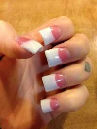 Pink and white gel nails with small flare tips by Chan - Yelp