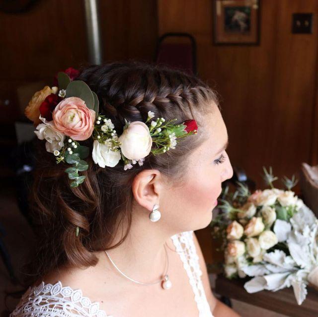 bridal half updo with braid and makeup by tsomuka. - yelp
