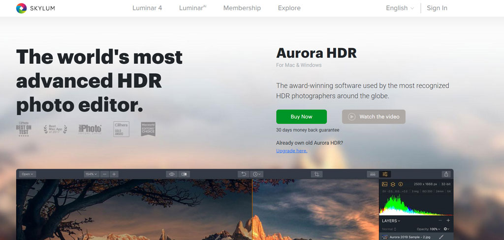 Aurora HDR AI photo editing tool
