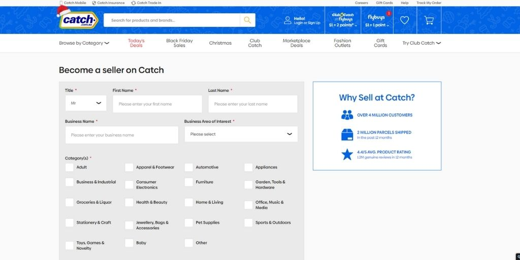 Create a Catch Seller Account