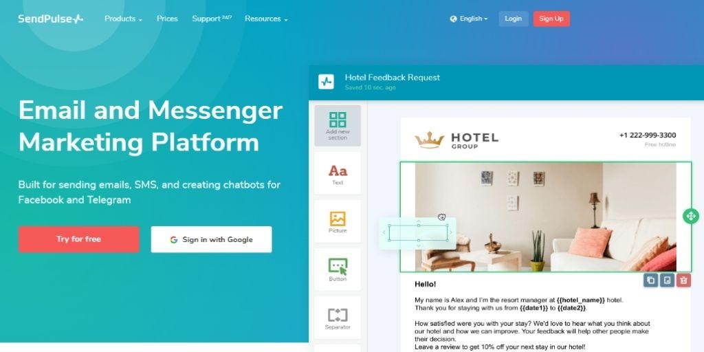 Sendpulse email marketing tools