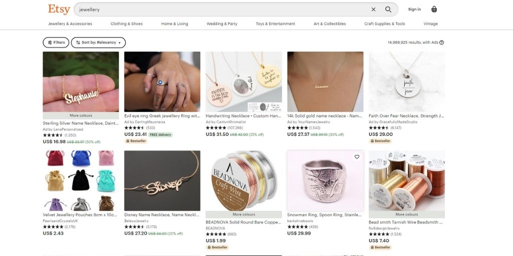 sell jewelry online on etsy