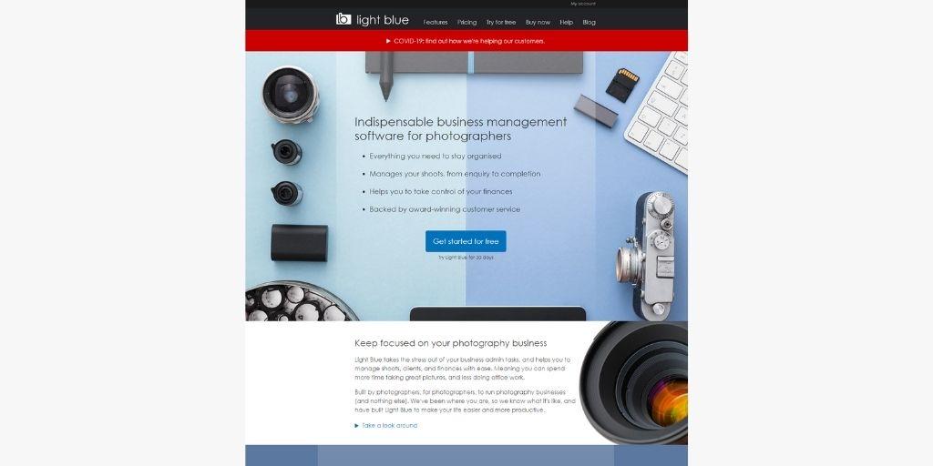 light blue photography studio management software