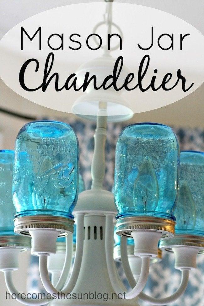 Blue Mason Jar Chandelier Complete