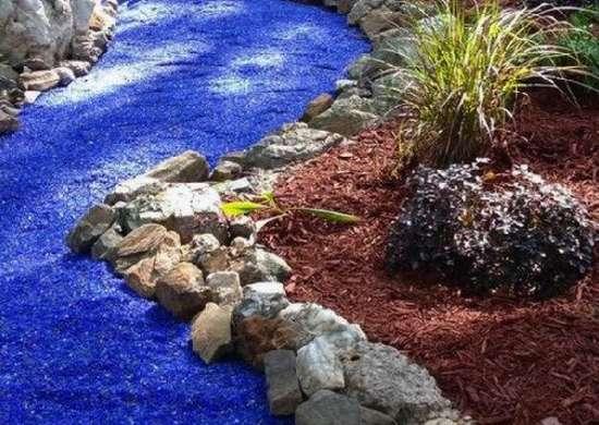 blue glass gravel landscaping