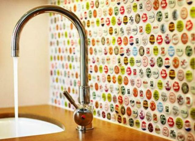 Backsplash ideas   bottle caps
