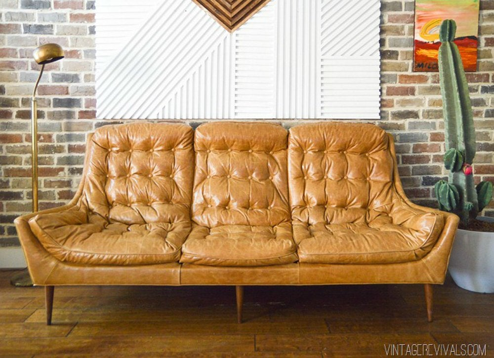 brown leather sofa on legs green settee diy couch makeovers 10 creative solutions for a tired bob vila revive vintage with new upholstery and