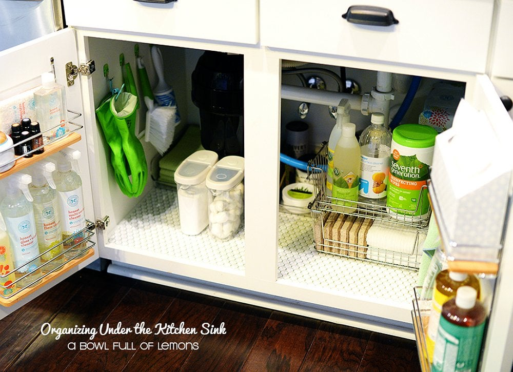Organize Under The Sink With Tension Rods And Hooks  How