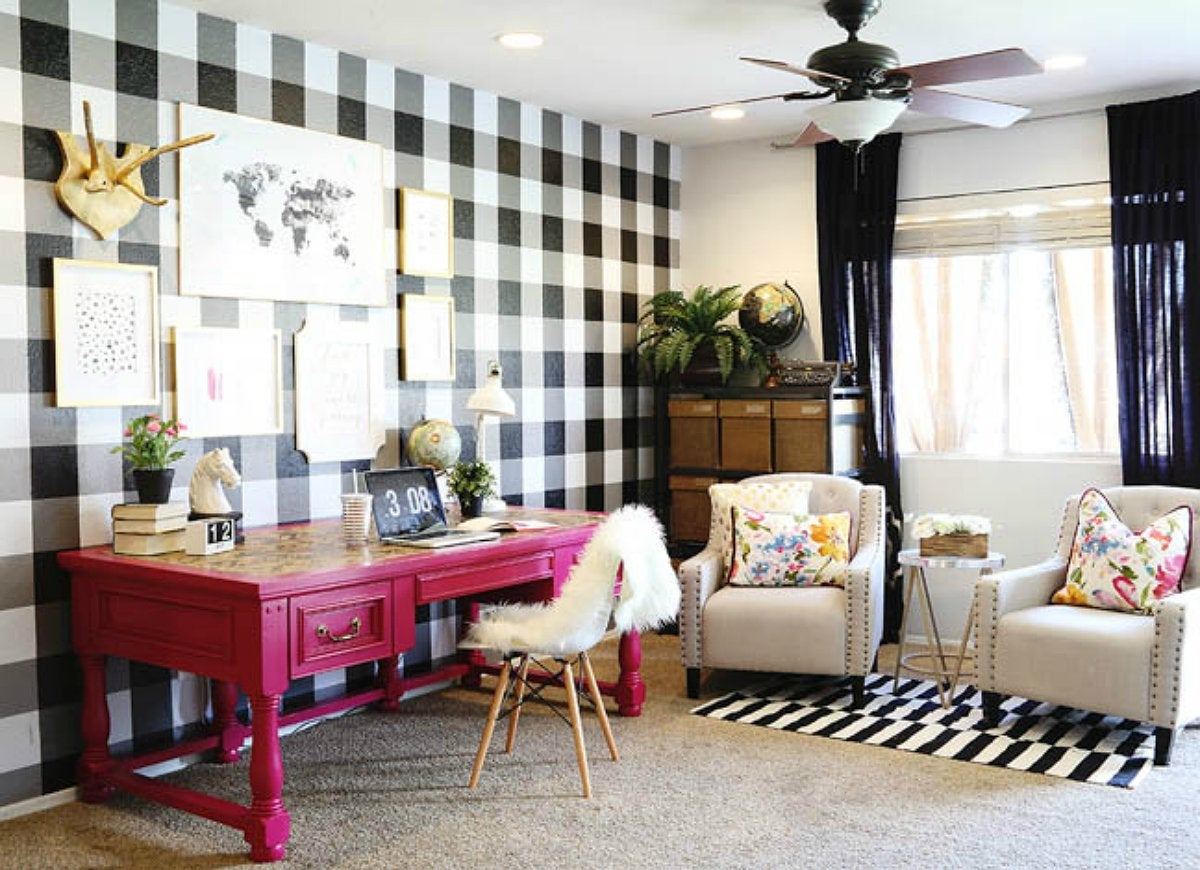 Diy Buffalo Check Accent Wall Room Painting Ideas 10