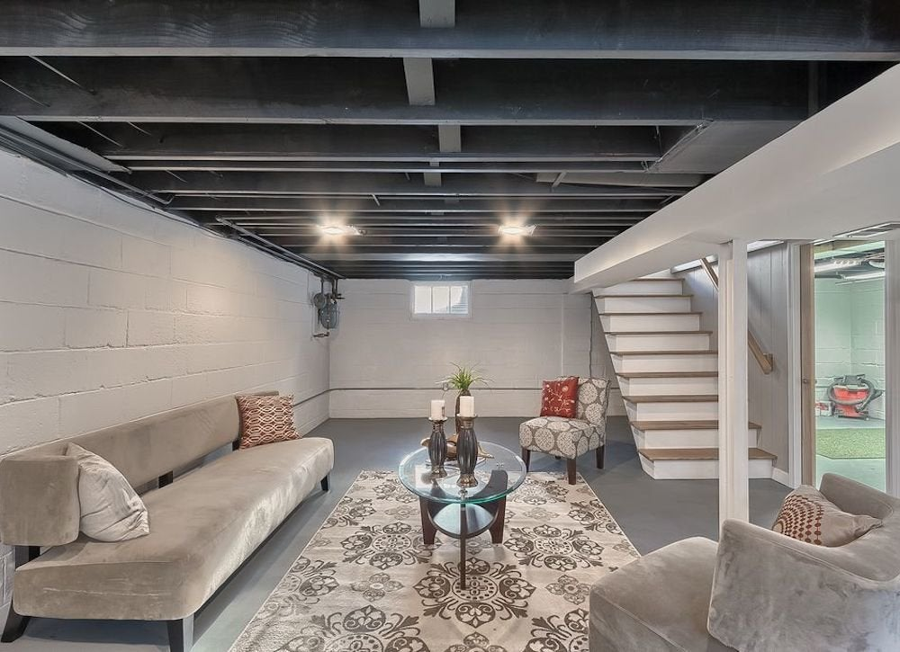 cheap ceiling ideas living room how to choose a rug for your basement 11 stylish options bob vila doable ways diy