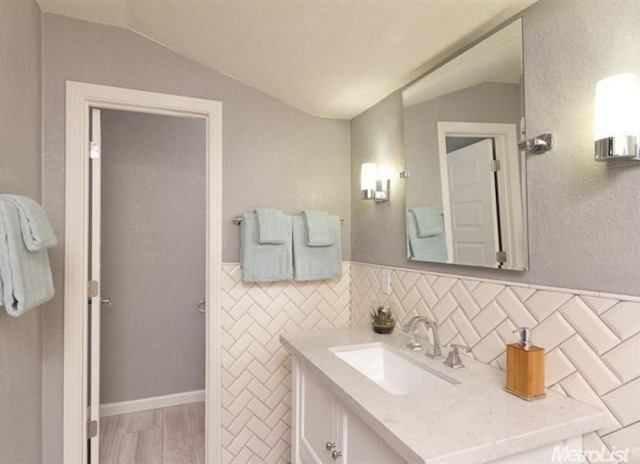 Subway tile wainscotting
