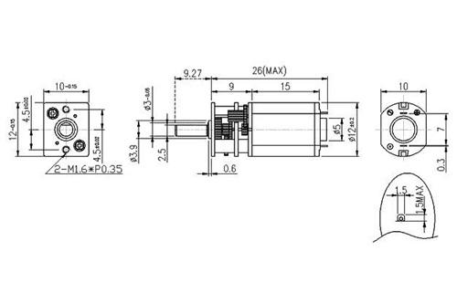 Micromotor metálico 10:1 HP com eixo extendido