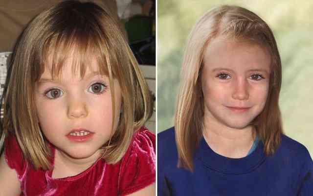 Madeleine quando sumiu e quando tinha 9 anos (em simulação digital)