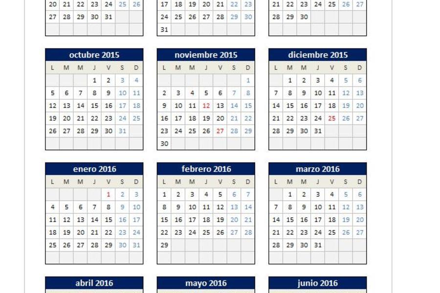 calendario excel 2015